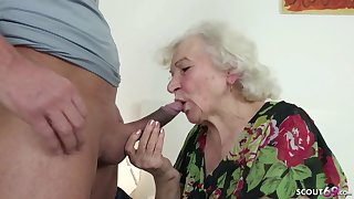 GERMAN ORDERLY Plugged up GRANNIE JERK AND HELP WITH POKE