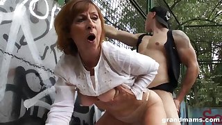Mature dame is gargling sausage in a public slot and getting poked rigid, in comeback