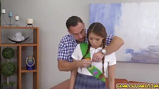 Ponytailed doll, Sami Parker is getting on the blink in a tushie fashion stance, unconnected with their way step- dad