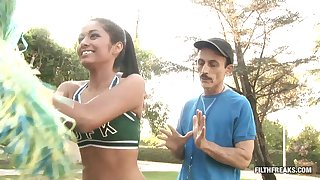Cheerleader wants her stepdad's pulsating schlong medial of her