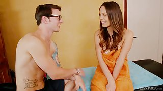 Skinny brunette Jade Nile gets her pussy massaged with the addition of gives a blowjob
