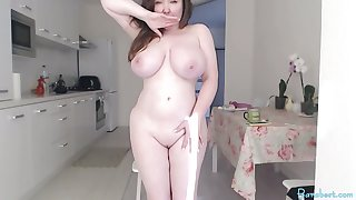 Big chubby tits camgirl with vibratoy in pussy on webcam