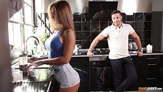 Pine haired oiled up Latina bombshell Susy Gala rides a fat cock
