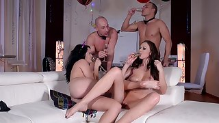 Outcast strip leads the horny wives to insane sex