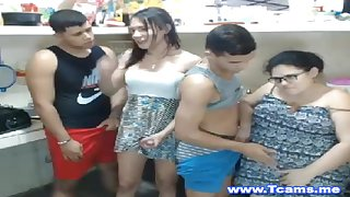 Two fetching females and four tranny engage in a fun and hot sex party.