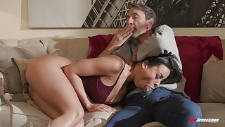 Luna Star plays with her tits while riding bushwa on someone's skin divan