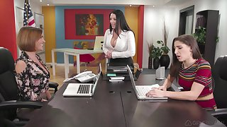 Office lesbian threesome with Abella Danger and her slutty coworkers