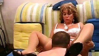 Sexy blonde mature white lingerie