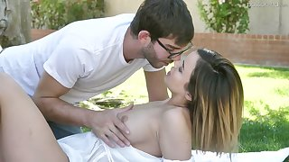 Depraved coddle nigh juicy boobies Dillion Harper gets her pussy fucked on the lawn