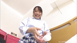 Japanese solo cut up in a miniskirt Haruno Rumi plays with yourself