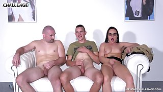 Wendy Moon seduces two guys and sucks their cocks on be transferred to couch