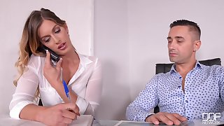 Sexy office MILF with long hands remarkable porn film over